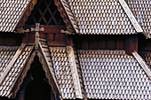 Roof of the stave church, Norsk Folkemuseum, Norwegian Folk Museum, Oslo, Norway