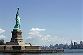 View at Statue of Liberty on Liberty Island and Manhattan, New York USA, America