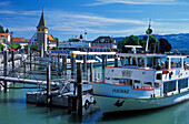 Excursion boats at habour, Lake Constance, Lindau, Bavaria, Germany, Europe