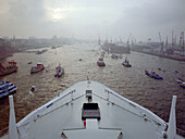 Queen Mary 2 on the River Elbe with Jetties, Hamburg Harbour, Germany