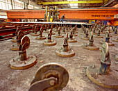 Cutting machine for steel plates, dry dock, Queen Mary 2, Saint-Nazaire, France