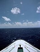 Bow of Queen Mary 2 and the wide Atlantic Ocean, Cruise Ship Queen May II, Luxury Ocean Liner, QM2, Cruise, Travel
