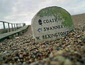 Direction sign on the beach, Chesil Bank, South England Great Britain