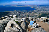 People looking at at the view of Capetown from the Table Mountain, South Africa, Africa