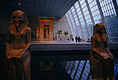 Interior view of the egyptian exhibition at the Metropolitan Museum of Art, Manhattan, New York, USA, America