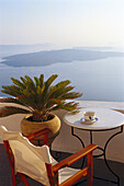 Deserted balcony with seaview, Hotel Nostos Traditional House, Imerovigli, Santorin, Cyclades, Greece, Europe