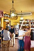 People dancing at the wine tavern Bodeguita, Avila, Castilla, Spain, Europe