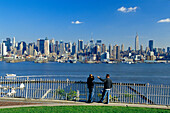 People standing at Weehawken Cliff at Hudson River, Manhattan, New York, USA, America