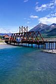 Railway bridge over Bennett Lake, Carcross, Yukon Territory, Canada
