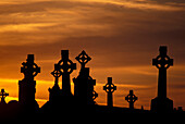 Celtic crosses in front of evening sky, cloister ruin Clonmacnoise, County Offaly, Ireland, Europe
