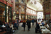 People at the shopping arcade Leadenhall Market, London, Great Britain, Europe