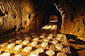 St. Nectaire cheese ripening in a cave, Auvergne, France, Europe