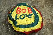 Painted stone, Bob Marley Mausoleum, Nine Mile, St. Ann, Jamaica, Caribbean, America