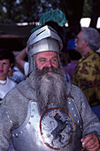 Mature man wearing knight's armour, Kaltenberger knight games, Kaltenberg, Bavaria, Germany, Europe