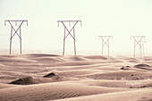Electricity pylons at the desert, Luederitz, Namibia, Africa