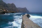 View at rocky coast and surge, Ponta do Sol, Santo Antao, Cape Verde, Africa