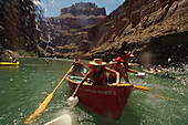 Rafting, people in rowing boats on Colorado River, Grand Canyon, Arizona, USA, America