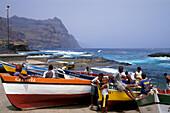 Boats at coast of Ponta do Sol, Santo Antao, Cape Verde Islands, Africa
