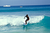 Surfing at beach of Santa Maria, Sal, Cape Verde Islands, Africa