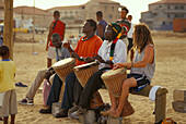 Native boys playing at beach, Beach of Santa Maria, Sal, Cape Verde Islands, Africa