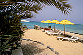 Deck chairs and sunshades at beach, Beach of Santa Maria, Sal, Cape Verde Islands, Africa