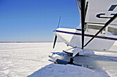 Airplane standing on frozen St. Lawrence River, Quebec, Canada