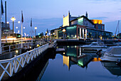 Opera house at the marina at dusk, Gothenburg, Sweden