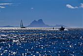 Water skiing, sailing boat, Bora Bora, French Polynesia