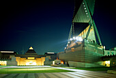 The illuminated Art Tower Mito of the Museum for Contemporary Art at night, Japan