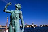 Sculpure near Stadshuset City Hall, , View to Riddarholmen Stockholm, Sweden