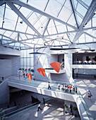 Interior view of a hall with glass roof at the National Gallery, Washington D.C., USA, America