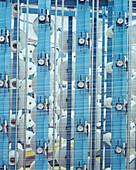 Machine twine dyed cotton yarns, fabric industry near Bergamo, Italy