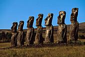 7 Moai, Hanga Roa, Ahu A Kivi, Osterinsel, Chile Amerika