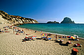 People on beach, Cala d´Hort, Ibiza, Balearic Islands, Spain