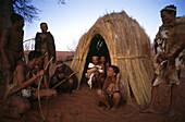 Traditional bushman hut, Wiederangesiedelte San, Intu Africa Kalahari Reserve, Namibia, Africa