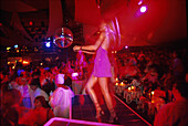 People dancing at the discotheque La Pacha, Ibiza, Canary Islands, Spain, Europe