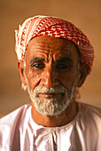 Guard with turban, Fort Al Khandak, Oasis town, Buraimi, Oman, on the border near Al Ain, Abu Dhabi, United Arab Emirates, UAE
