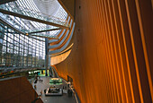 Glass facade of the Tokyo International Forum, an exhibition, concert hall and conference center, Tokyo, Japan