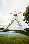 Jumping girl on a lake, Jumping girl on a lake, Women jumping into the sky, Wellness People