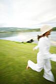Girl on a lake, Girl on a lake, Women running beside a lake, Wellness people