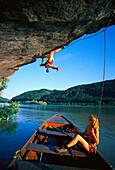 Freeclimbing, Extreme climbing near Aschbach, Danube, Upper Austria, Austria