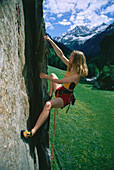 Free climbing woman, Tyrol, Austria
