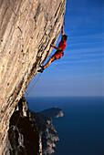 Freeclimber on rock face, No Siesta 8b, Muzzerone, Cinque Terre, Italy