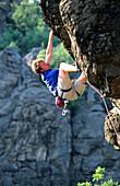 Man rock climbing, Extreme climbing, Gitschenwand, Lower Austria, Austria