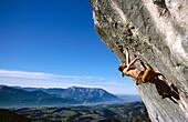 Climbing up the Gitschenwand, Salzburger Land, Austria