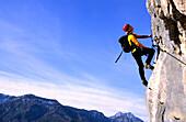 Man on a fixed rope route, Bad Goisern, Salzkammergut, Upper Austria, Austria