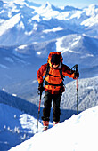 Man moving up on ridge, Strichkogel, Gosaukamm, Austria