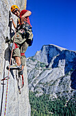 Man rock climbing, Techno climbing at South West Face, Big Wall Climbing, Washington Column, Yosemite Valley, California, USA