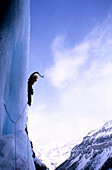 Ice cascade, Nemisis WI6, March 2004, Ice Climbing, Stanley Headwall, Canada, Harald Berger