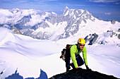 Climber at mount Aiguille du Midi, Mont Blanc, Chamonix, Rhone-Alpes, France